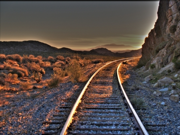 HDR shot of the sunrise on the tracks at the end of Dos Cabezas Road