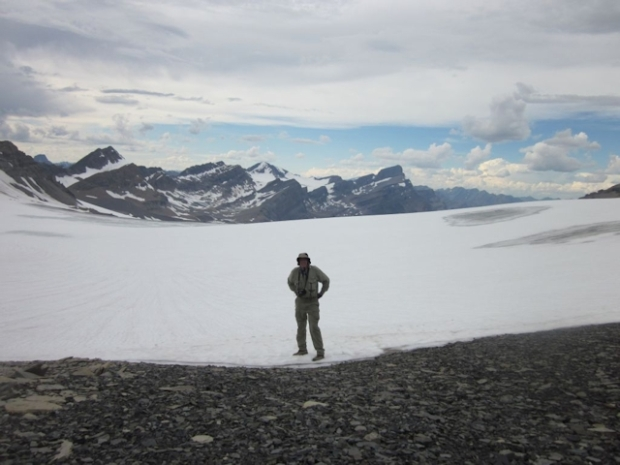 Me, standing on the edge of the Bonnet Glacier, Banff National Park