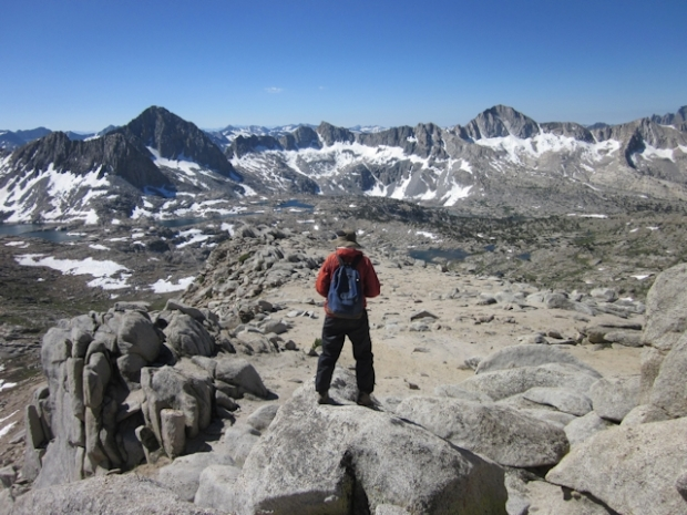 Looking across Dusy Basin from Peak 12286 near the Sierra Crest west of Bishop Pass
