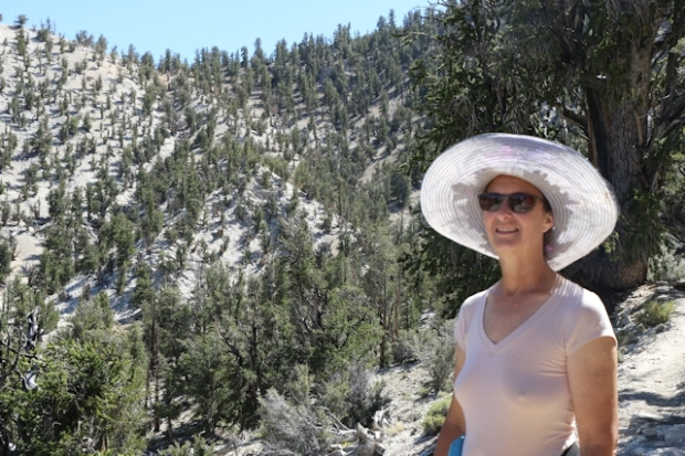 Vicki posing with the dolomite ridge behind her where the oldest tree in the world lives, the Methuselah Grove