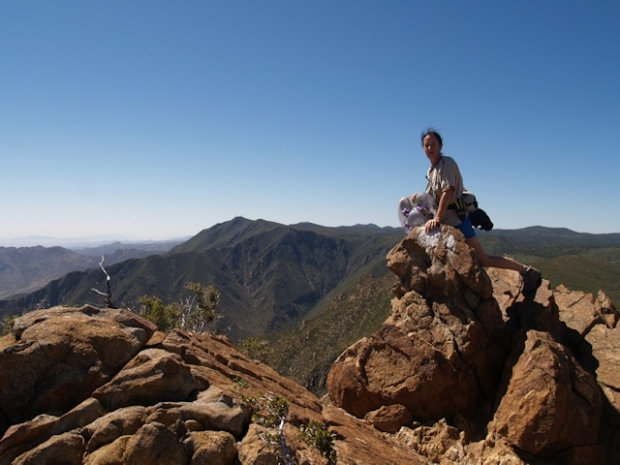 Vicki on the summit of Garnet Peak in the Laguna Mountains