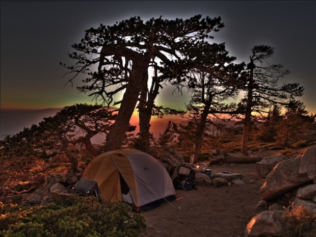 Our tent and campsite at Limber Pine Bench at sunset - HDR shot
