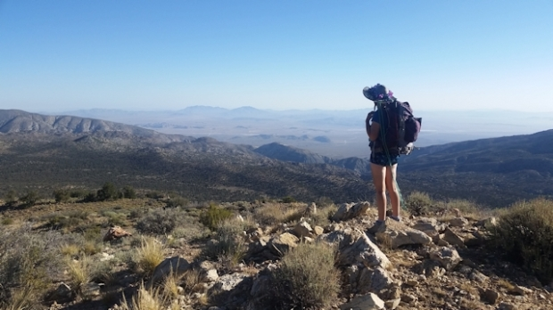 Looking out over the Mojave Desert from the PCT east of Big Bear Lake