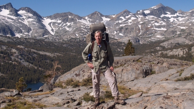JFR in 2010 hiking cross-country above Waugh Lake in the Ansel Adams Wilderness