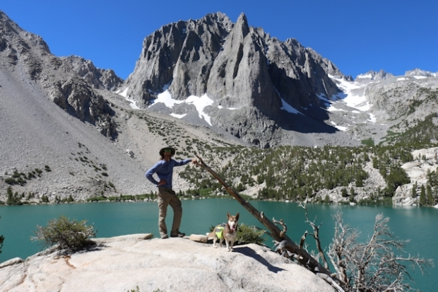 My son posing at Third Lake with Temple Crag in the background on the North Fork Big Pine Creek Trail