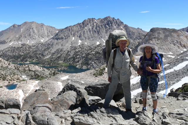 Vicki and I on top of Glen Pass with the Rae Lakes Basin down below us