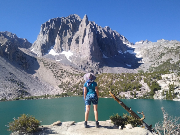Vicki posing like an Instagram Girl at Second Lake with Temple Crag in the background on the North Fork Big Pine Creek Trail