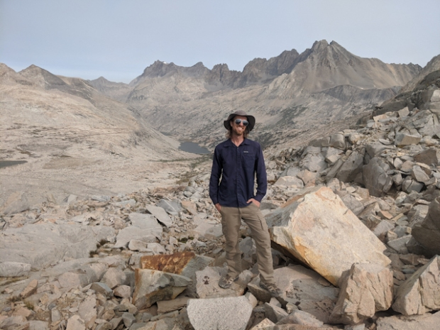 My son standing on top of Mather Pass on the John Muir Trail / Pacific Crest Trail